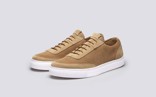 Grenson M.I.E. Sneaker Men's in Beige Perforated Suede - 3 Quarter View