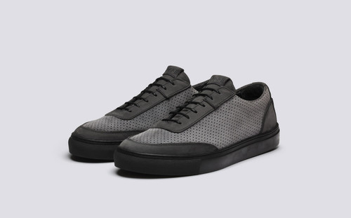 Grenson M.I.E. Sneaker Men's in Grey Perforated Suede - 3 Quarter View