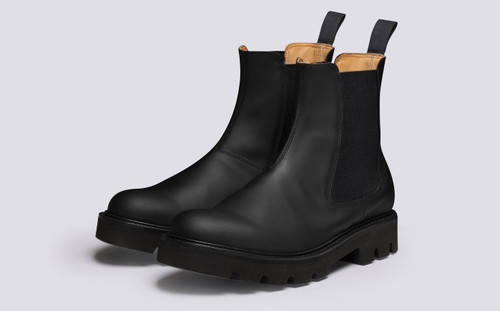 Milo | Mens Chelsea Boots in Black Rubberised Leather | Grenson - Main View