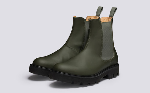 Milo | Mens Chelsea Boots in Green Rubberised Leather | Grenson - Main View