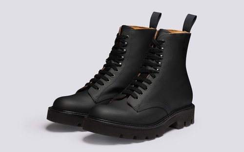 Jude | Mens Boots in Black Rubberised Leather | Grenson - Main View