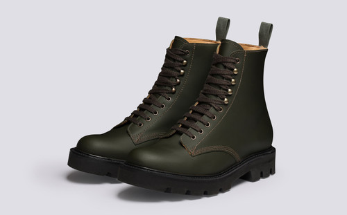 Jude | Mens Boots in Green Rubberised Leather | Grenson - Main View