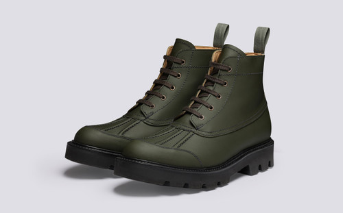 Jack | Mens Duck Boots in Green Rubberised Leather | Grenson - Main View