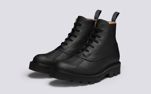 Jack | Mens Duck Boots in Black Rubberised Leather | Grenson - Main View