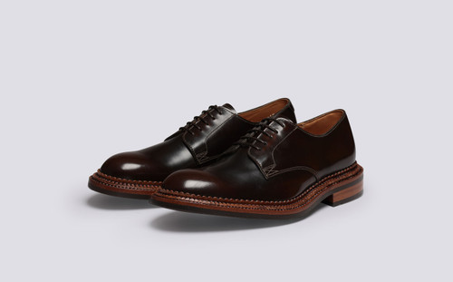 Rosebery | Mens Derby Shoes in Dark Brown Leather | Grenson - Main View