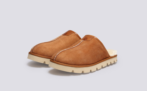 Wainwright | Men's Slippers in Tobacco Shearling | Grenson - Main View
