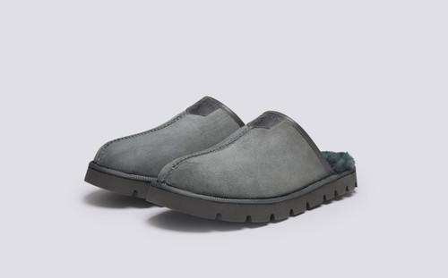 Wainwright | Men's Slippers in Grey Shearling | Grenson - Main View