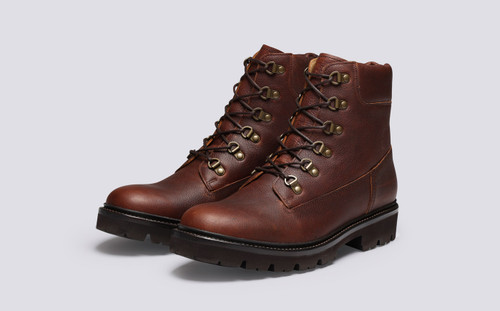 Grenson Rutherford in Brown Oily Pull Up Grain - 3 Quarter View