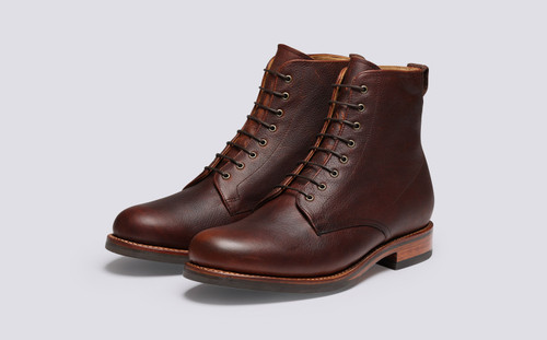 Grenson Murphy in Brown Oily Pull Up Grain - 3 Quarter View