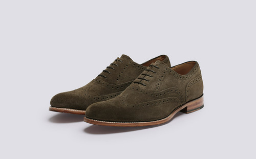 Grenson Dylan in Green Suede - 3 Quarter View