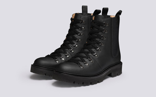Brady Pull On | Men's Hiker Boots in Black Rubberised Leather | Grenson - Main View