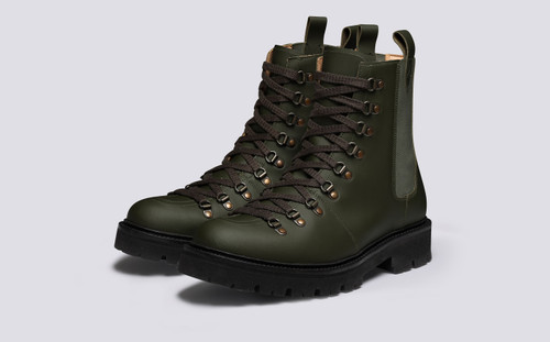 Brady Pull On | Men's Hiker Boots in Green Rubberised Leather | Grenson - Main View