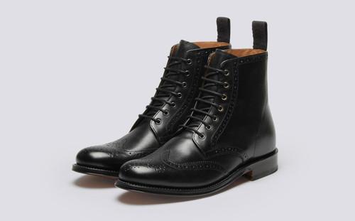 Grenson Ella in Black Calf Leather - 3 Quarter View