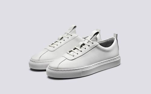 Grenson Sneaker 1 Women's in White Calf Leather - 3 Quarter View