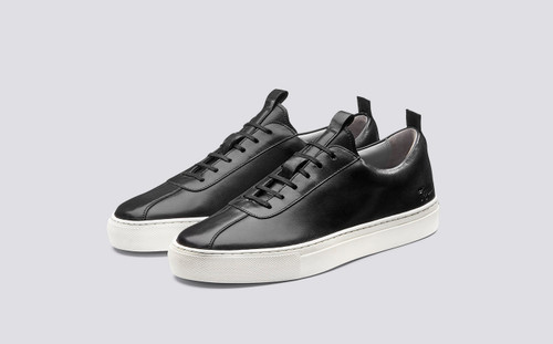 Sneaker 1   Womens Oxford Sneaker in Black Calf Leather with a White Rubber Sole   Grenson  - Main View
