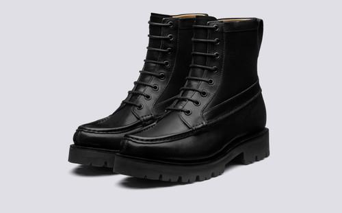 Harper   Womens Black Boots Commando Sole   Grenson - Main View