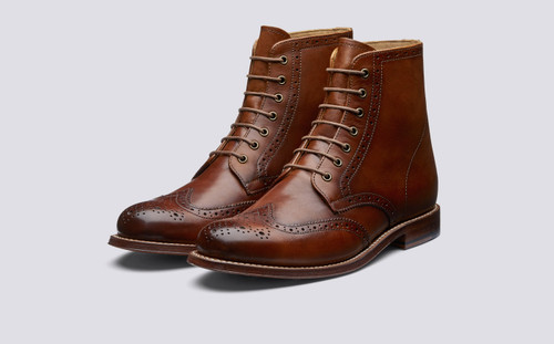 Grenson Ella in Tan Hand Painted Calf Leather - 3 Quarter View