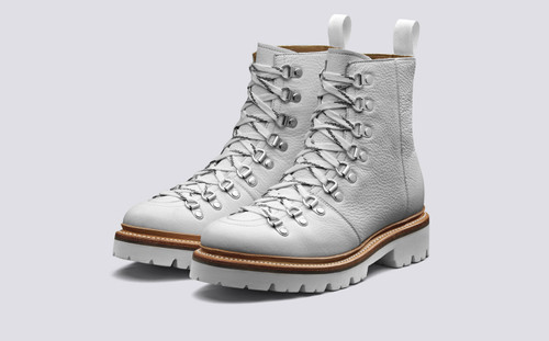 Nanette | Womens Hiker Boots in White Softie Leather on a Commando Sole | Grenson - Main View