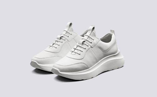 Sneaker 20 | Sneakers for Women in White Calf Leather with Sculpted Rubber Sole | Grenson - Main View