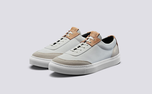 Grenson M.I.E. Sneaker Women's in White Suede/Nubuck - 3 Quarter View