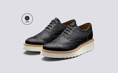 Emily | Vegan Shoes for Women in Black Grain | Grenson - Main View
