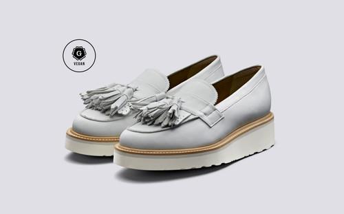 Clara | Vegan Loafers for Women in White | Grenson - Main View