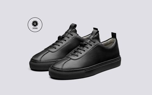 Grenson Sneaker 1 Women's in Black Vegan Grain - 3 Quarter View