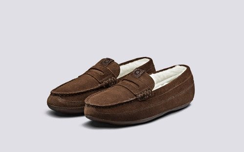Grenson Slone in Brown Suede - 3 Quarter View