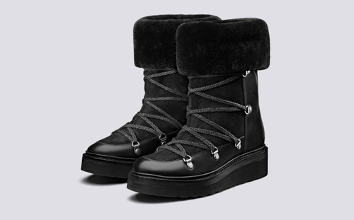 Camille | Mid Calf Boots for Women in Black | Grenson - Main View