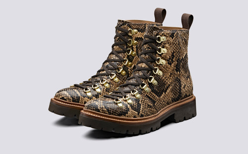 Nanette | Womens Hiker Boots in Brown Snake Print | Grenson - Main View