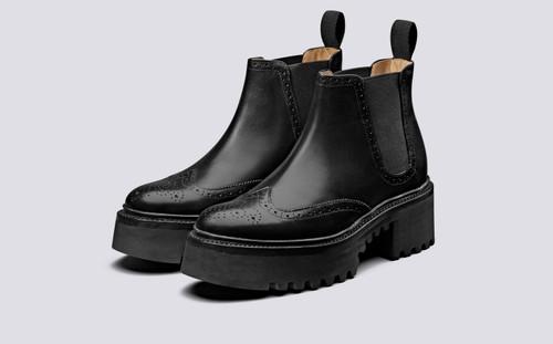 Grenson Alissa in Black Calf Leather - 3 Quarter View