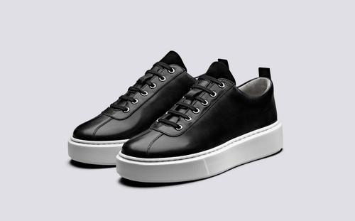 Grenson Sneaker 30 Women's in Black Calf Leather/Suede - 3 Quarter View