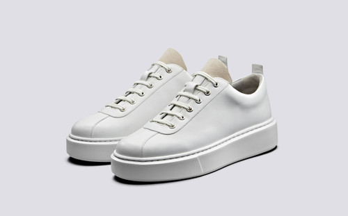 Grenson Sneaker 30 Women's in White Calf Leather/Suede - 3 Quarter View