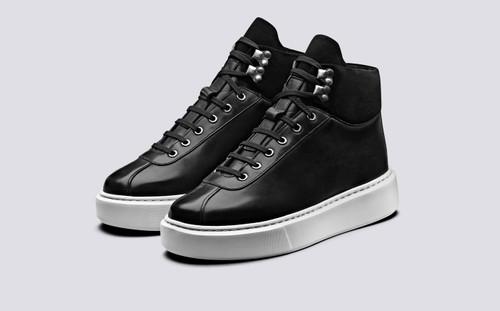 Grenson Sneaker 31 Women's in Black Calf Leather/Suede - 3 Quarter View