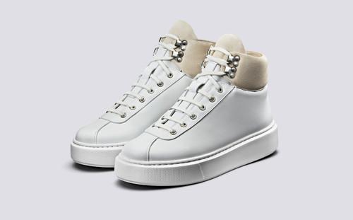 Grenson Sneaker 31 Women's in White Calf Leather/Suede - 3 Quarter View