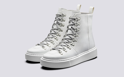 Grenson Sneaker 35 Women's in White Calf Leather - 3 Quarter View