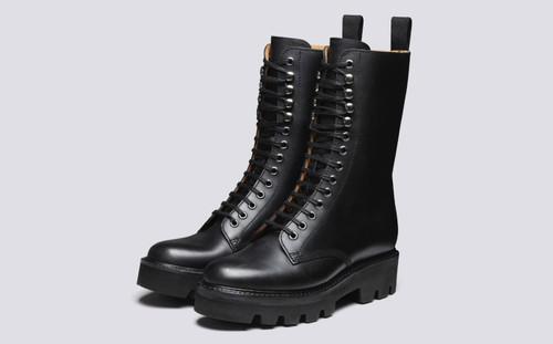 Grenson Mavis in Black Pull Up Leather - 3 Quarter View