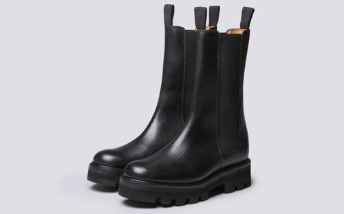 Grenson Doris in Black Pull Up Leather - 3 Quarter View