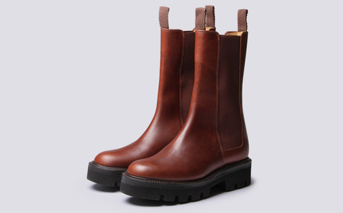 Grenson Doris in Brown Pull Up Leather - 3 Quarter View