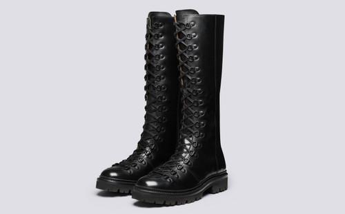 Grenson Nanette Knee High in Black Colorado Leather - 3 Quarter View