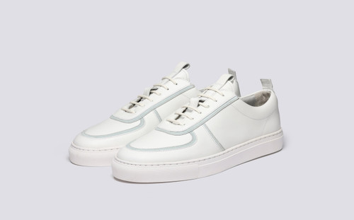 Grenson Sneaker 22B Women's in White Calf/Suede - 3 Quarter View