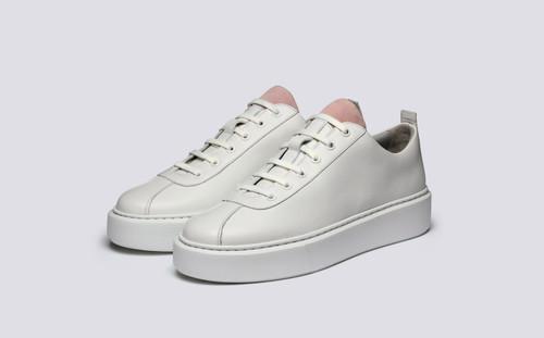 Grenson Sneaker 30 Women's in White Calf/Suede - 3 Quarter View