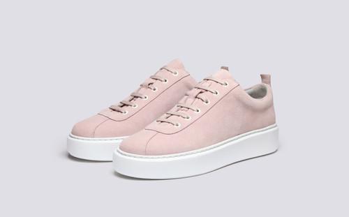 Grenson Sneaker 30 Women's in Pink Suede - 3 Quarter View