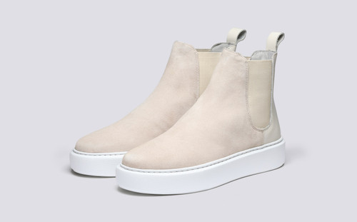 Grenson Sneaker 38 Women's in White Suede/Rubberised Leather - 3 Quarter View