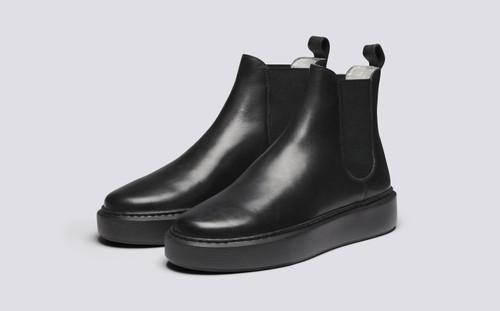 Grenson Sneaker 38 Women's in Black Calf Leather - 3 Quarter View