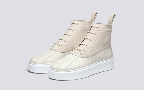 Grenson Sneaker 39 Women's in White Suede/Rubberised Leather - 3 Quarter View
