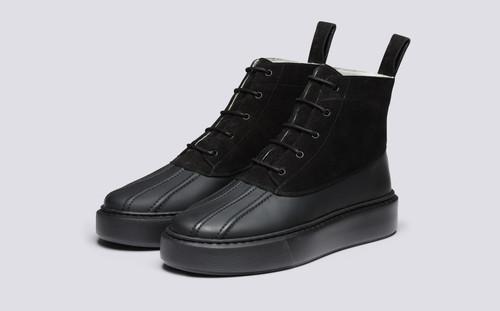 Grenson Sneaker 39 Women's in Black Suede/Rubberised Leather - 3 Quarter View