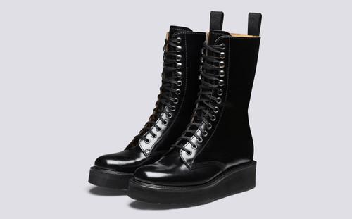 Grenson Mavis in Black Hi Shine Leather - 3 Quarter View