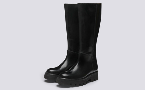 Vanessa | Womens Knee High Boots in Black Leather | Grenson - Main View