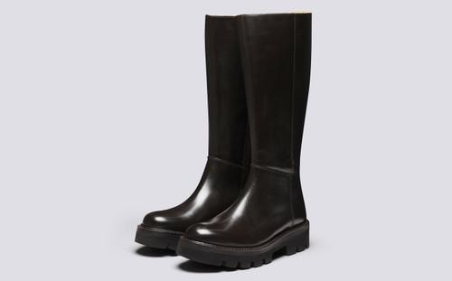 Vanessa | Womens Knee High Boots in Dark Brown | Grenson - Main View